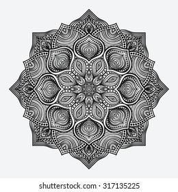 mandala. circular monochrome pattern. vector illustration - eps 8