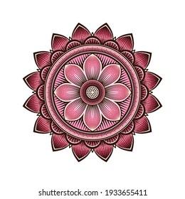 Mandala circular pattern with pink lotus