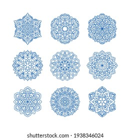 Mandala collection set vector illustration. Vintage decorative elements. Oriental pattern, vector illustration. Islam, Arabic, Indian, turkish, pakistan, chinese, ottoman motifs.