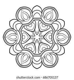 Simple Flower Mandala Pattern Coloring Book Stock Vector (Royalty ...
