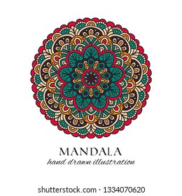 Mandala colored oriental round floral ornament. Colorful vector hand drawn decoration for ethnic prints and design. Meditation isolated tribal circle element illustration on white background
