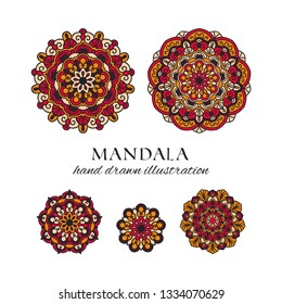 Mandala colored oriental round floral ornaments set. Colorful vector hand drawn decorations for ethnic prints and design. Meditation isolated tribal circle elements collection on white background