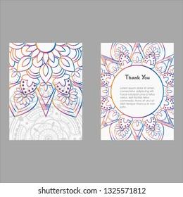 Mandala Colorful ornamental ethnic banner set. Templates with doodle tribal mandalas. Vector illustration for congratulation or invitation.
