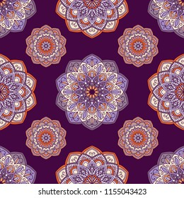 Mandala colorful vector seamless pattern. Abstract geometric texture. Hand drawn background with decorative elements in purple, violet and orange colors