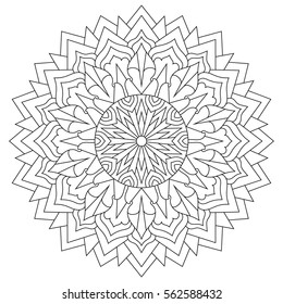 Mandala for coloring book, circular ethnic ornament. Round Oriental pattern