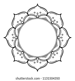 Mandala for coloring book. Decorative round ornament pattern. Hand drawn background. Can be used for coloring book, greeting card, phone case print, etc. Vector Henna Tattoo style. Yoga logos Vector.