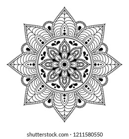 Mandala for coloring book. Decorative round ornament pattern. Hand drawn background. Yoga logos Vector. Can be used for coloring book, greeting card, phone case print, etc.