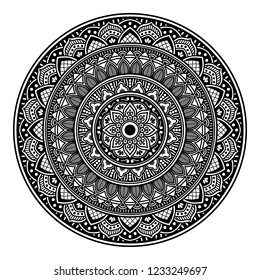 Mandala for coloring book, decorative round ornament. Can be used for greeting card, phone case print, etc. Hand drawn background, vector isolated on white. EPS 10