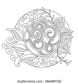 Mandala coloring book page contour indian hand drawn vector abstract indian pattern. Coloring book page.