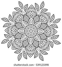 Mandala. Coloring book pages. Indian antistress medallion. Abstract islamic flower, arabic henna design, yoga symbol. White background, black outline. Vector illustration