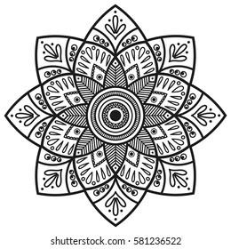 Mandala Coloring Book Pages Indian Antistress Stock Vector HD ...