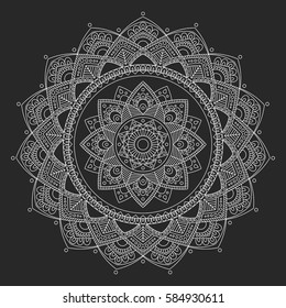 Mandala. Coloring book pages. Indian antistress medallion. Abstract islamic flower, arabic henna design, yoga symbol. Vector illustration.