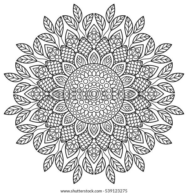 Mandala Coloring Book Pages Indian Antistress Stock ...