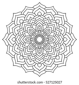 Mandala for coloring book. Round symmetrical pattern