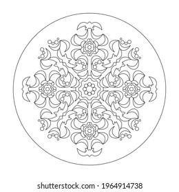 Page de coloriage Mandala. Abstrait. Art Therapy. Anti-stress. Illustration vectorielle noir et blanc.