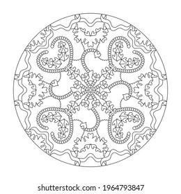Page de coloriage Mandala. Arrière-plan abstrait avec coeurs. Art Therapy. Anti-stress. Illustration vectorielle noir et blanc.