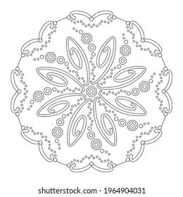 Page de coloriage Mandala. Arrière-plan abstrait avec spirales. Art Therapy. Anti-stress. Illustration vectorielle noir et blanc.