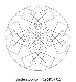 Page de coloriage Mandala. Abstrait et géométrique. Art Therapy. Anti-stress. Illustration vectorielle noir et blanc.