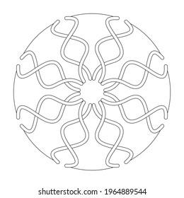 Page de coloriage Mandala. Courbe abstraite et entrelacée. Art Therapy. Anti-stress. Illustration vectorielle noir et blanc.