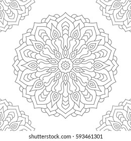 Mandala coloring page for adults on white background