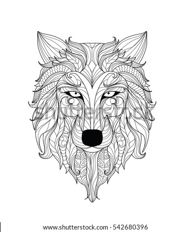 Mandala Coloring Page Adults Zentangle Wolf Stock Vector Royalty