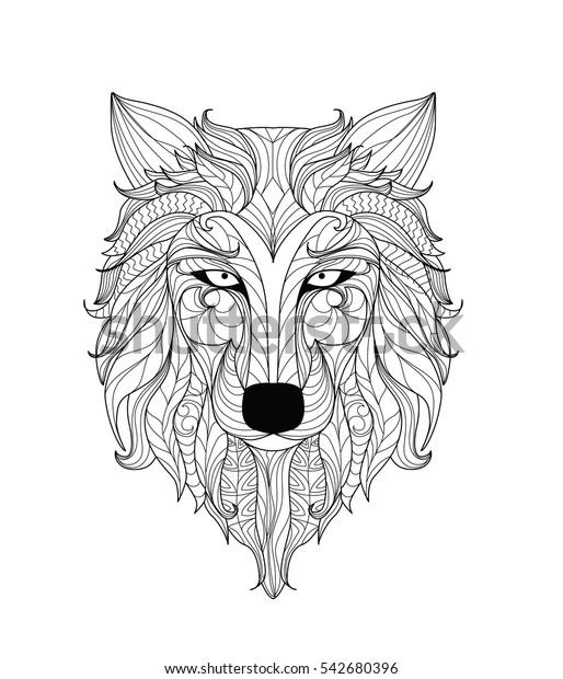 Mandala Coloring Page Adults Zentangle Wolf Stock Vektorgrafik