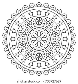 Mandala. Coloring page. Vector illustration.