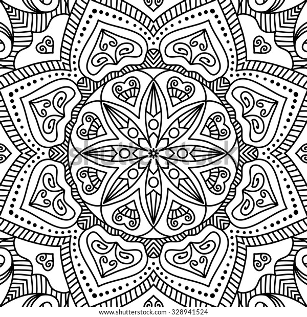 Mandala Coloring Page Vintage Decorative Elements Stock Vector