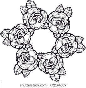 Mandala consisting of flowers, leaves. A pattern that is ideal for coloring