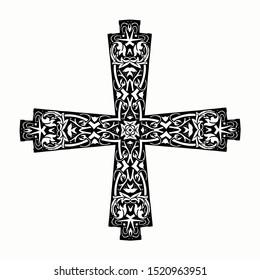 mandala cross, floral ornate christianity sign