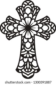 Mandala Cross,  Zentangle Cross, Window Decal, Ornate Cross, Swirl Clipart