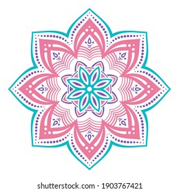 Mandala. Decorative round ornament. Isolated on white background. Arabic, Indian, ottoman motifs. For cards, invitations, t-shirts. Vector color illustration.