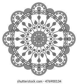Mandala design. Coloring book pages print.