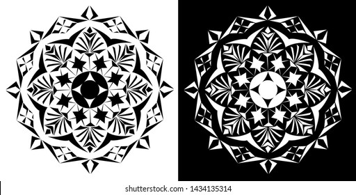 Mandala Design concept in Scroll saw or Intarsia Pattern - Indian Traditional and Cultural Rangoli, Alpona, Kolam or Paisley vector line art with dark and white background