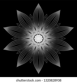 Mandala. For Design, Greeting Card, Invitation, Coloring Book. Arabic, Indian, Motifs. Vector Illustration. Black white grey color