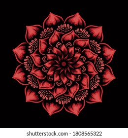 mandala design illustration, with blooming flower pattern. beautiful and gorgeous
