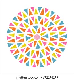 Mandala design in Mexican ethnic style. Colorful triangle shape pattern. Vector illustration