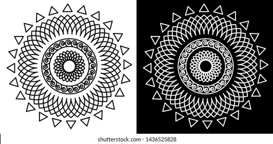 Mandala Design with Petals - Indian Traditional and Cultural Rangoli, Alpona, Kolam or paisley vector line art with dark and white background