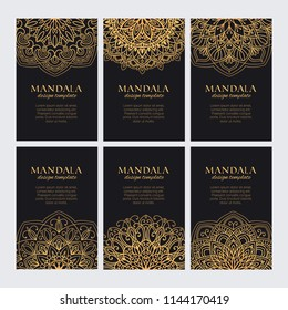 Mandala design template vector collection. Set of luxury golden decorative ornaments for identity, web and prints. Round oriental elements