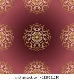 Mandala Design Vintage Elements Oriental Sari Pattern Vector Illustration Islam