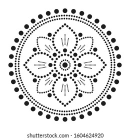 Mandala Dot Art. Dotted Floral Mandala. Decoration Ornament Consisting of Dots. Vector