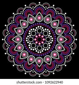 Mandala dot painting vector design, Aboriginal style, Australian folk art boho ornament in pink and purple. Mandalas dot pattern nspired by traditional art from Australia on black background