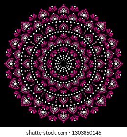 Mandala dot painting vector design, Aboriginal dot art style, Australian folk art boho style.   Dot pattern in pink inspired by traditional art from Australia on black background