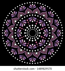 Mandala dot painting vector design, Aboriginal dot art style, Australian folk art boho style in pink and purple.   Dot pattern mandala inspired by traditional art from Australia on black background