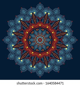 mandala in dots on the dark background
