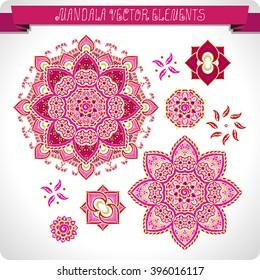 Mandala. Elements for design. Vector artwork.Ethnic decorative elements. Hand drawn. Islam, Arabic, Indian, ottoman motifs.