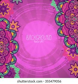 Mandala. Ethnic decorative background. Hand drawn background. Islam, Arabic, Indian, ottoman motifs. Pink.