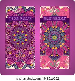 Mandala. Ethnic decorative backgrounds. Hand drawn background. Islam, Arabic, Indian, ottoman motifs. Set cards.
