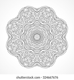 Mandala Ethnic Decorative Elements Indian Islam Arabic Motifs Round Ornament With Hand