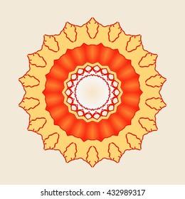Mandala . Ethnic Indian Symbol with Gold fish design